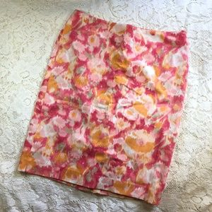 Talbots Multi Color Pink Pencil Skirt